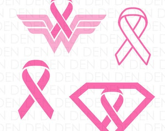 Cancer Superhero SVG, Breast Cancer Cut File, Cancer Awareness Ribbon SVG, Awareness Ribbon Cut File, Cancer Awareness Ribbon Cut Files