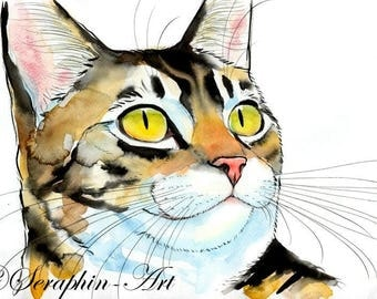 Brown Tabby Cat Original Watercolor Painting