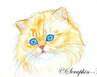 Ginger Persian Cat Original Watercolor Painting