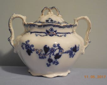 OXFORD  Flow Blue Sugar Bowl by Johnson Brothers