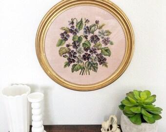 Large Vintage Blue & Purple Floral Framed Needlepoint