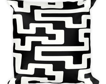 Black and White Square Pillow, Graphic Cushion Cover, Geometric Pattern, Modern Accent Pillow, Throw Pillow, Size 18x18 inches