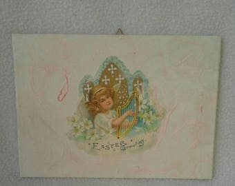 Decoupage-Framework, made using paper for Decoupage, depicting an angel playing the harp