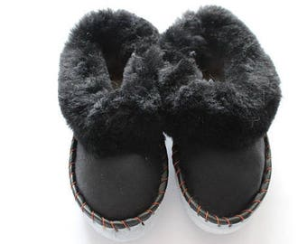 SHEEPSKIN slippers LEATHER moccasins for men women  fur winter boots soled slippers socks wool woolen shoes suede leather brown handmade