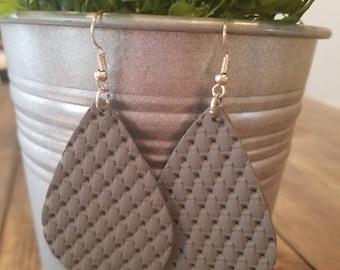 Gray Lattice Leather Teardrops earrings.