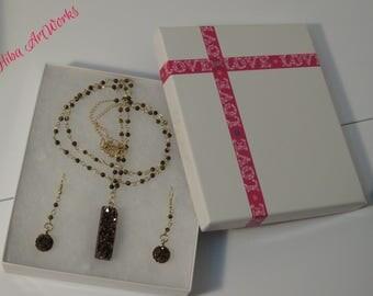 Handmade Necklace & Earring Set, Pendant/charms ,handmade jewelry