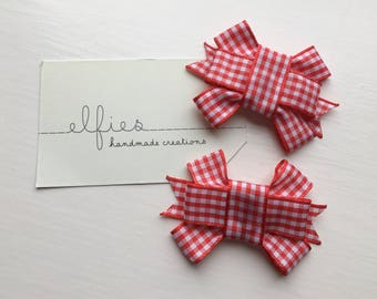 Red Gingham Hair Clips