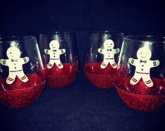 Ginger bread men glasses, wine, glitter glass, Christmas, Christmas gift, home ware, stemless glass, wine glass, glitter, handmade,