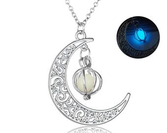 Crescent moon glow in the dark pendant with bead