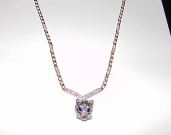 Vintage Cartier Enamel Panther Diamond Necklace