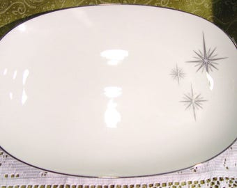 NORITAKE China PRESTON 6509 13 inch Serving Platter Mid Century Atomic Starburst