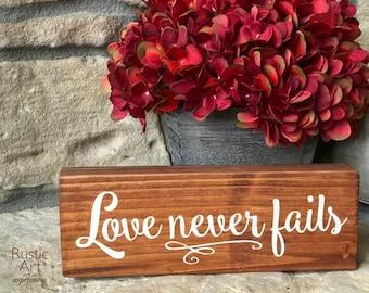 Love Never Fails | Reclaimed Wood | Rustic Decor