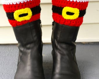 Santa Christmas Holiday Boot Toppers (cuffs) pdf pattern - crochet