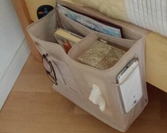 SET OF 2- Bedside Organizer Storage Remotes Media Books Tablets Glasses Cell Phones Beige