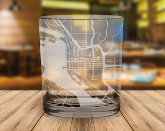 San Diego City Map Whiskey Glass Gift Padres