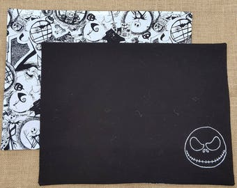 2 cotton fabric placemats - nightmare before Christmas - reversible with 1 side hand embroidered - Disney - Jack - dinner set