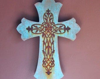Rustic Cross Sign Painted Wooden Cross Rusty Painted Sign Religious Wall Art Christian Art Gift Blue Patina Sign Spiritual Cross Sign