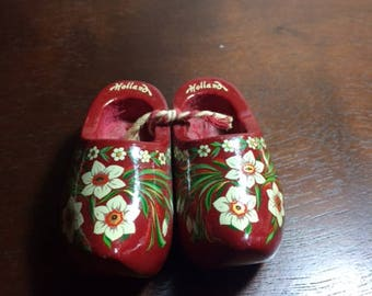 Miniature handpainted wooden clogs from Holland