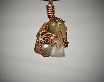 Banded Agate Pendant - Wire Wrapped Jewelry - Orange Brown and Tan Banded Layers with Crystal Depths - Handmade Stone Necklace