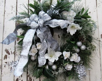 Ready to Ship - Silver Bells Holiday Wreath with Cream Amaryllis, Roses, Pine Cones, Silver Fern and Silver Balls