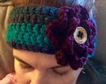 Handmade Crocheted Ear Warmer With Flower Accent