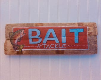 Fishing Bait And Tackle Rustic Sign. Handpainted on reclaimed wood . Perfect for mancaves ,patios and cabins.