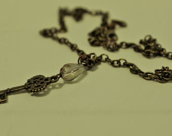 Antique Bronze Keys with Crystals-Chokers and Bracelets