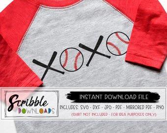 BASEBALL SVG - xoxo svg - baseball love valentines boy DXF mom fan Iron On printable svg Instant cut file silhouette shirt home run cricut