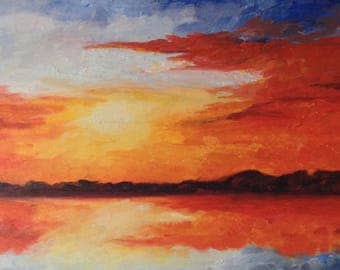 """10"""" x 20"""" x 1 1/2"""" Original Oil Painting on Gallery Wrapped Canvas, Sunrise"""