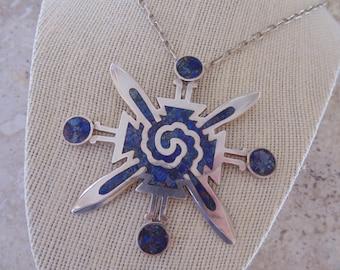 OBO - Miguel Melendez ~ Vintage Blue Stone Inlay and Sterling Silver Large Pendant and Chain