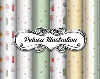Green&Gold Party Digital Paper Pack - Pelusa Illustration -