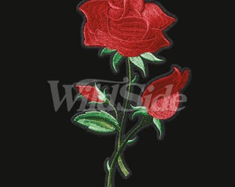 Large Tall Rose Fabric Embroidery Iron-On Transfer Embroidered Fabric