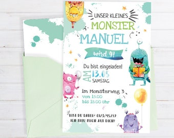 Invitation card for Children's birthday * monster motif printable card * personalizable & Individual