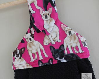 Pink Frenchies Hanging Kitchen Towel // Kitchen Towel // Dish Towel // French Bulldog Towel