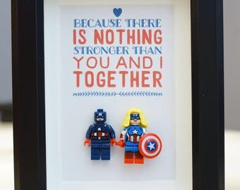 Captain America, Lego, Superhero, gift, daddy, gift for him, for valentine, father's day, anniversary, birthday inspired by LEGO