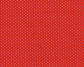 White Mini Dots on Red Fabric Sold per 1/2 Metre 100% Cotton