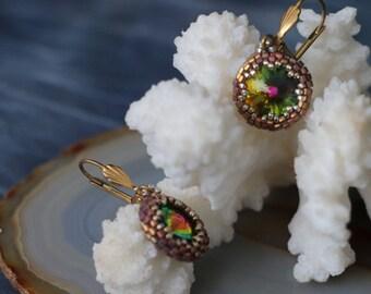 "Glass Beads Earrings ""Oracle"" (Swarovski Stone)"