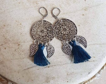 These earrings. Silver and blue.