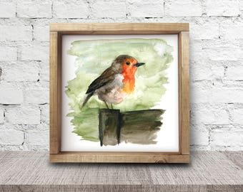Robin Print. Robin Art. Watercolour Print. Wall Art. Robin. Red Robin. Boho Art. Wall Art Print. Bird. Robin Picture. Robin Art.