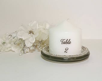 Table Number, Decorative Candles, Pillar Candles, Centerpiece, Unscented Pillar Candles, Personalized Candles