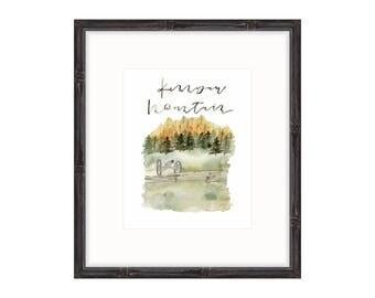 Watercolor Print   Kennesaw Mountain Print   Fall Print