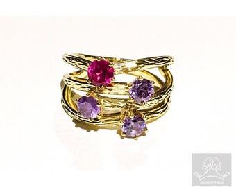 9ct yellow gold purple haze cz ring
