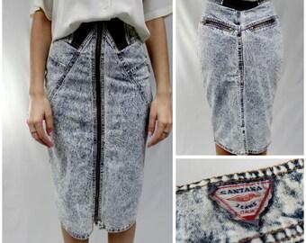Vintage Denim Skirt, Vintage Acid Wash Skirt, Acid Wash Skirt, Zippered Acid Wash Skirt, Acid Wash Denim Skirt, High Waisted Denim Skirt
