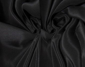 "Sample/ Yards/Meters 100% Pure Mulberry Silk Fabric Crepe De Chine 55"" /140cm wide 14momme Material Black crepeW-Black-14mmW Online for Sale"