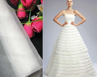 Pure Silk Organza Fabric Bright White White by the yard for Wedding Bridal Dress (za Snow X Yards /Meter or samples) love3388 love3388