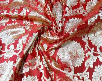 Super stunning Gold on  Red Chinese Brocade Silk Fabric Motif 29 inch W, By The Yard or Metres or Samples GP-618