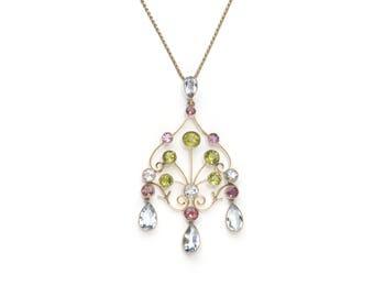 Aquamarine, Peridot & Pink Tourmaline Pendant