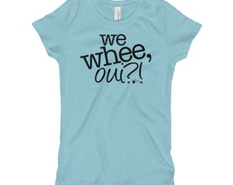 "Kids' dance shirt: ""We whee, oui?!"" Girl's Dance T-Shirt, ballet shirt, jazz dance, tap, gymnastics, cheer   Swing Swag Children's Dance Top"