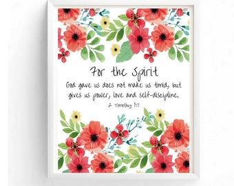 Printable art, 2 Timothy 1:7, Typography