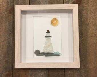 "Lighthouse on Rocks with Sun and Waves: Maine Sea Glass 8""x8"" Shadow Box."